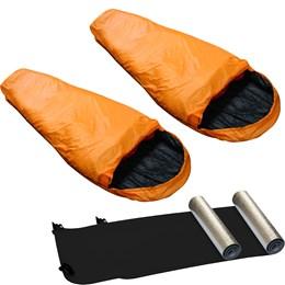 Kit 2 Sacos de Dormir Laranja Micron X-Lite + 2 Isolantes Térmicos Aluminizado Nautika