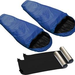 Kit 2 Sacos de Dormir Micron X-Lite Azul + 2 Isolantes Térmicos - Nautika