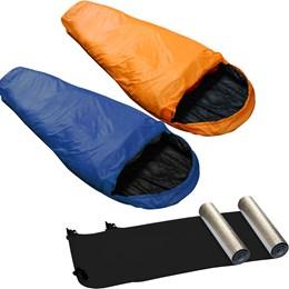 Kit 2 Sacos de Dormir Micron X-Lite Azul e Laranja + 2 Isolantes Térmicos Nautika
