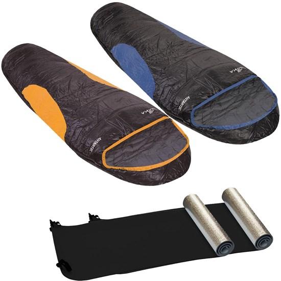 Kit 2 Sacos de Dormir Tipo Sarcófago de -7º Antartik + 2 Isolantes Térmicos E.V.A.- Nautika