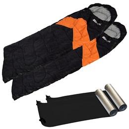 Kit 2 Sacos de Dormir Viper Laranja e Preto + 2 Isolantes Térmicos em E.V.A Aluminizado - Nautika