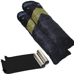 Kit 2 Sacos de Dormir Viper Verde e Preto + 2 Isolantes Térmicos em E.V.A Aluminizado - Nautika
