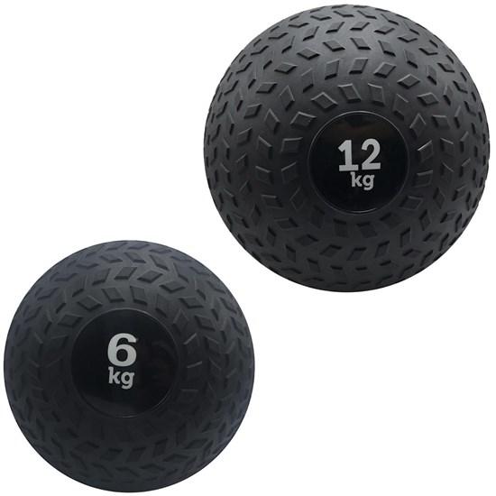 Kit 2 Slam Ball Bola de Peso 6 e 12 kg ZStorm para Crossfit Preto