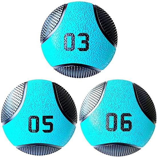 Kit 3 Medicine Ball Liveup PRO 3 5 e 6 kg Bola de Peso Treino Funcional LP8112