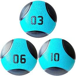 Kit 3 Medicine Ball Liveup PRO 3 6 e 10 kg Bola de Peso Treino Funcional LP8112