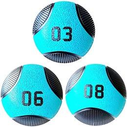 Kit 3 Medicine Ball Liveup PRO 3 6 e 8 kg Bola de Peso Treino Funcional LP8112