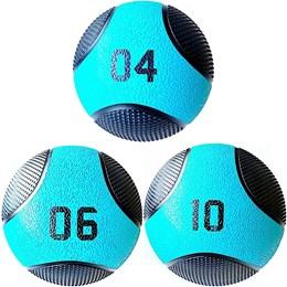 Kit 3 Medicine Ball Liveup PRO 4 6 e 10 kg Bola de Peso Treino Funcional LP8112