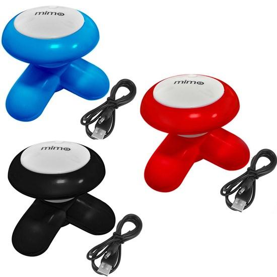 Kit 3 Mini Massageadores Corporal Mimo Massager XY3199 Portátil USB Pilha Rosa Azul Preto