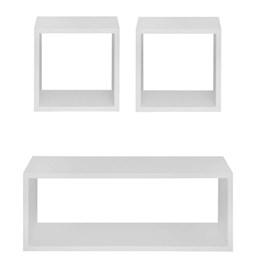 Kit 3 Nichos Decorativos para Quarto Sala Banheiro em MDF Branco