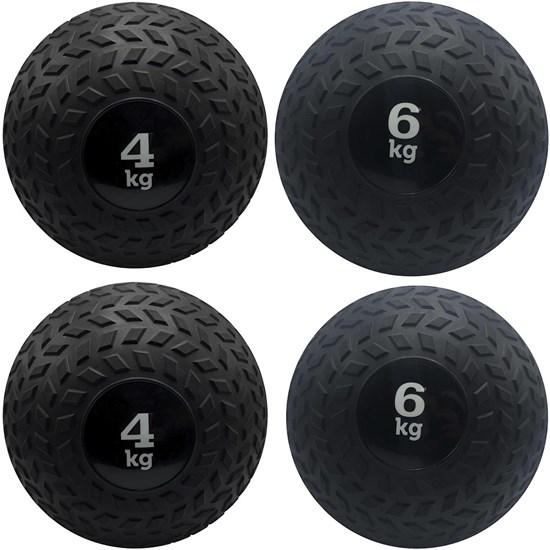 Kit 4 Slam Ball Bola de Peso 4 e 6 kg ZStorm para Crossfit Preto
