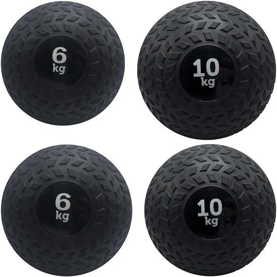Kit 4 Slam Ball Bola de Peso 6 e 10 kg ZStorm para Crossfit Preto