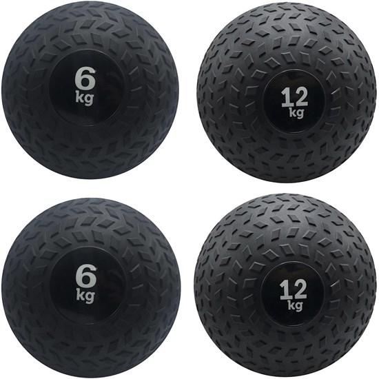 Kit 4 Slam Ball Bola de Peso 6 e 12 kg ZStorm para Crossfit Preto