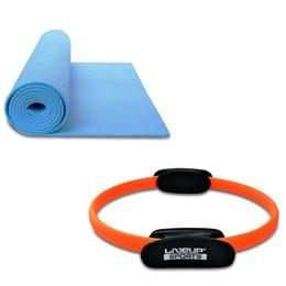 Kit Anel de Pilates Plus Toning Ring LIVEUP LS3167B + Colchonete de Yoga em EVA LiveUp LS3231B