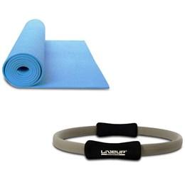 Kit Anel de Pilates Plus Toning Ring LS3167B Cinza + Colchonete de Yoga Azul LiveUp LS3231B