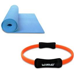 Kit Anel de Pilates Toning Ring LIVEUP LS3167C + Colchonete de Yoga Azul LiveUp LS3231B