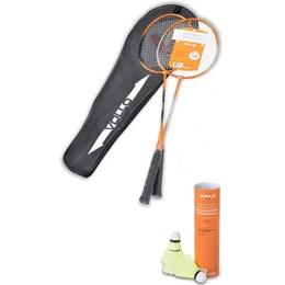 Kit Badminton com 2 Raquetes e 9 Petecas de Nylon com Base De Cortiça VOLLO