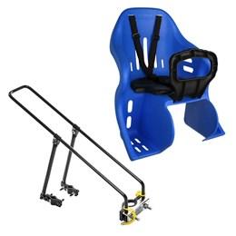 Kit Bagageiro para Bicicleta Aro 26 27,5 29 + Cadeirinha Infantil Traseira até 25kg Azul