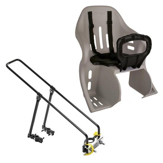 Kit Bagageiro para Bicicleta Aro 26 27,5 29 + Cadeirinha Infantil Traseira até 25kg Cinza