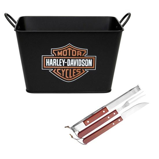 Kit Balde de Gelo Harley Davidson 5L + Conjunto Churrasco 3 Peças Fork