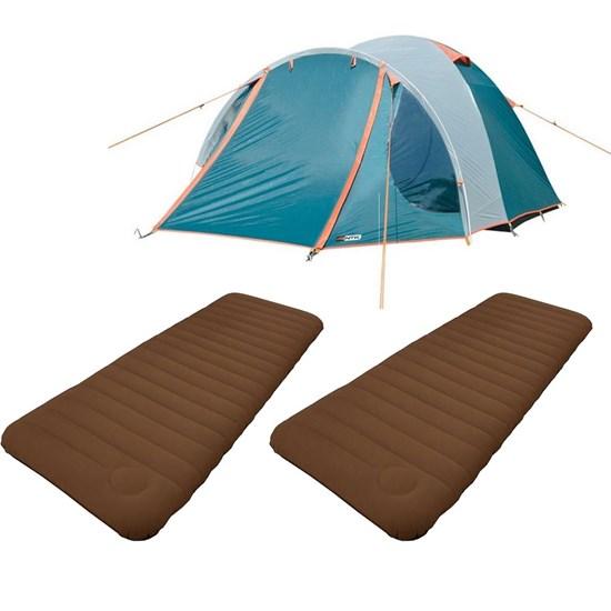 Kit Barraca de Camping Tipo Iglu Indy Nautika + 2 Colchões Infláveis Solteiro Soft Sleep Guepardo