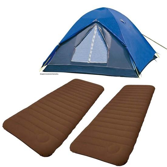 Kit Barraca Tipo Iglu Fox 6 Pessoas Nautika + 2 Colchões Infláveis Solteiro Soft Sleep Guepardo