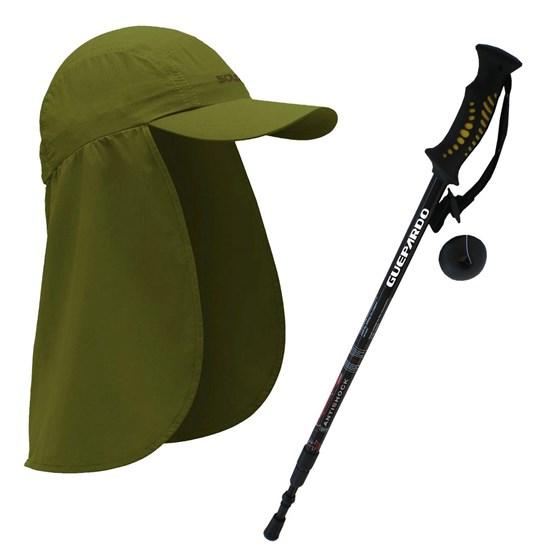 Kit Bastão para Caminhada e Trekking Guepardo AB0100 + Boné SOLO Explorer Legionário Verde