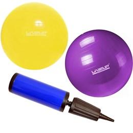 Kit Bola Suíça 75cm + Bola Suíça 55cm + Bomba de inflar Liveup