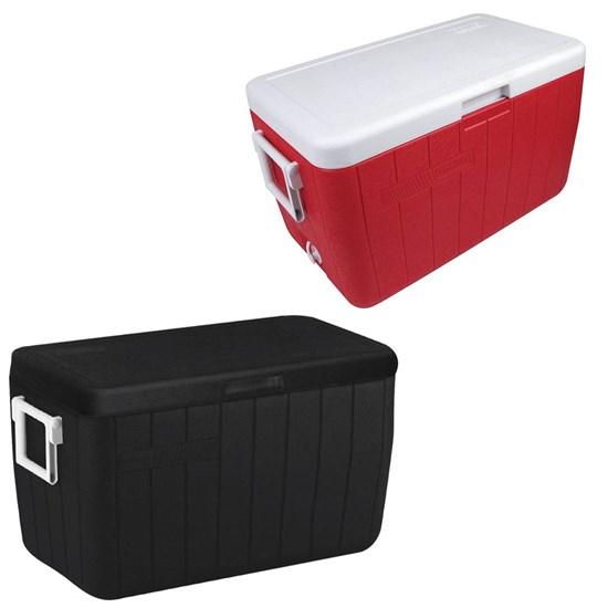 Kit Caixa Térmica 45,4 L com Alças Lateral Coleman 2 Unidades Preto e Vermelho