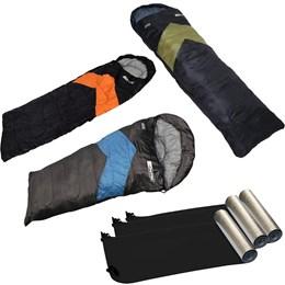Kit Camping com 3 Sacos de Dormir Viper + 3 Isolantes Térmicos - Nautika