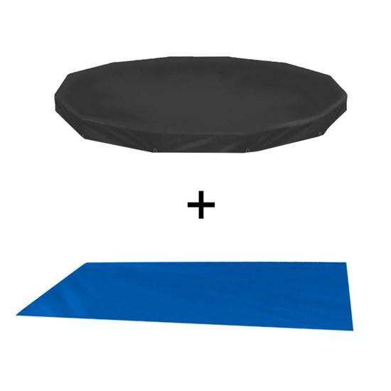 Kit Capa + Forro Protetor para Piscina Circular 4500 Litros Preto Mor 1406 e 1455