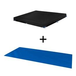 Kit Capa Protetora + Forro MOR para Piscina Standard 2000 litros em Ráfia Azul 1404 1453