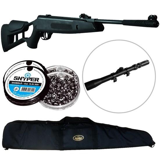 Kit Carabina de Pressão Striker Edge 5.5mm Preta + Luneta 3-7x20 + Capa Preta + 250 Chumbinhos