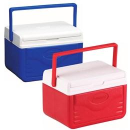 Kit com 2 Caixas Térmicas Coleman 5QT 4,7 Litros Cada com Alça e Porta-Latas Azul e Vermelho