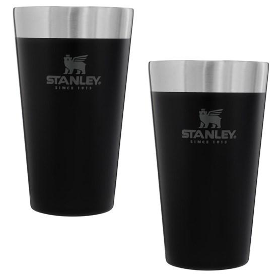 Kit com 2 Copos Térmicos de Cerveja Stanley 473 ml até 4 Horas Gelado Preto