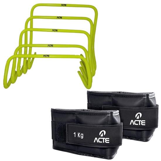 Kit de Obstáculos em 5 Níveis + Caneleira Profissional Emborrachada 1kg Acte
