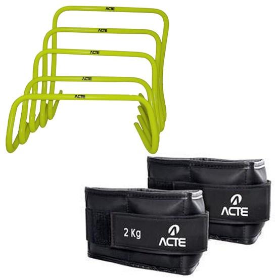 Kit de Obstáculos em 5 Níveis + Caneleira Profissional Emborrachada 3kg Acte
