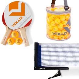 Kit de Tênis de Mesa Vollo 2 Raquetes com 100 Bolas e Rede em Nylon