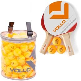 Kit de Tênis de Mesa Vollo 2 Raquetes com 100 Bolas Table Tennis