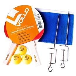 Kit de Tênis de Mesa Vollo com 2 Raquetes, 3 Bolas e Rede VT610-R