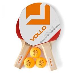 Kit de Tênis de Mesa Vollo VT610 Table Tennis com 2 Raquetes 3 Bolas