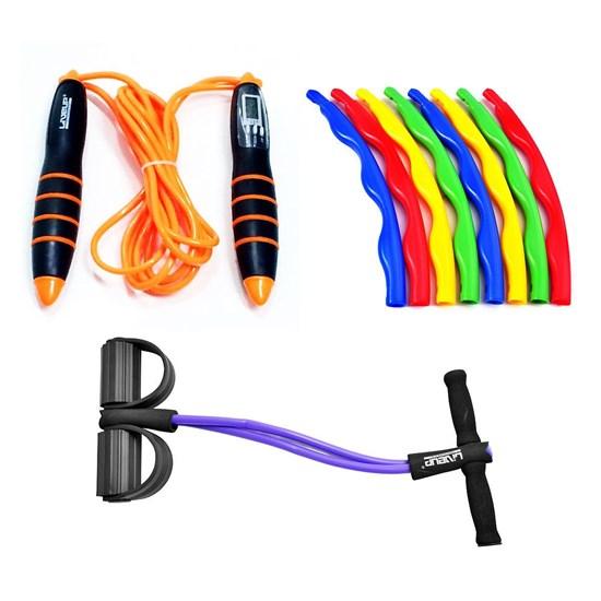 Kit Extensor Elástico Vertical + Corda de Pular e Bambolê Desmontável - LIVEUP