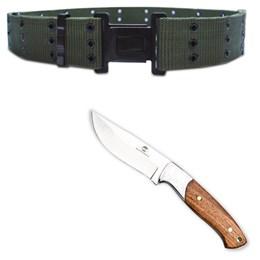 "Kit Faca 8"" Fish em Inox Guepardo CB0100 + Cinto Militar Tático N.A. Army Guepardo VC0101"