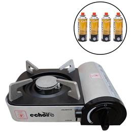 Kit Fogareiro Alu Compact com Acendedor Automático EchoLife + 4 Cartuchos de Gás CAMPGÁS