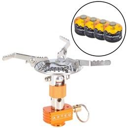 Kit Fogareiro Compacto a Gás Spark com Sistema de Regulagem AZTEQ + 4 Cartuchos de Gás 230g TEKGAS