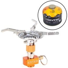 Kit Fogareiro Compacto a Gás Spark com Sistema de Regulagem AZTEQ + Cartucho de Gás 230g TEKGAS