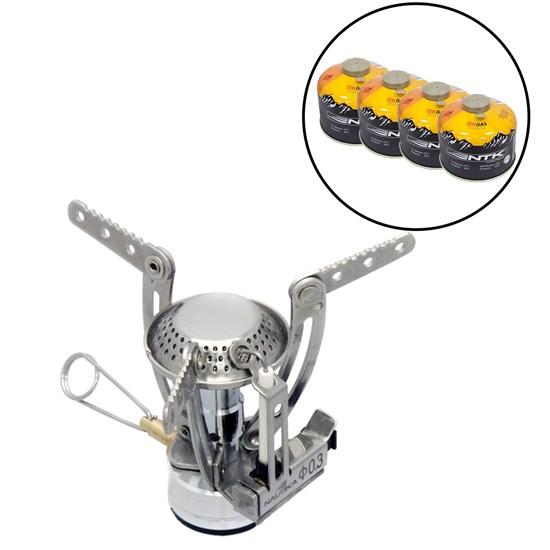Kit Fogareiro Compacto com Sistema de Regulagem Jupiter Nautika + 4 Cartuchos de Gás 230g TEKGAS
