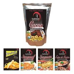 Kit Liofoods: Carne com Azeitonas e Strogonoff de Frango 2 Porções Cada + Sopa de Feijão com Macarrão, Espaguetes com Legumes e Snack Banana 1 Porção Cada