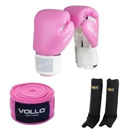 Kit Luva de Boxe COMBAT 14 OZ Vollo VFG303-14 + Bandagem Elástica 3 Metros + Protetor de Canela