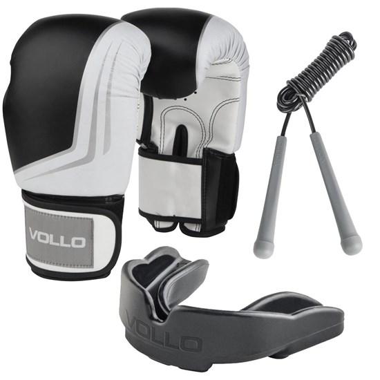 Kit Luva de Boxe IFS 10 OZ Preta Vollo VFG201 + Corda de Pular + Protetor Bucal Moldável
