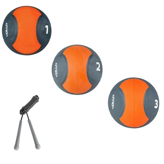 Kit Medicine Ball 1Kg, 2 Kg e 3 Kg para Crossfit Vollo + Corda de Pular Vollo